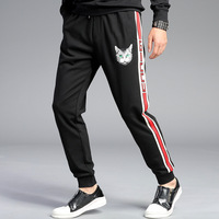 Popular Brand Printed Sweatpants Young MEN'S Korean style Personalized Ribbon Joint Sports Skinny Pants K977 [New Style Price Co