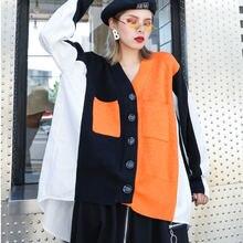 Уличная одежда xuxi свободная вязаная рубашка в стиле пэчворк