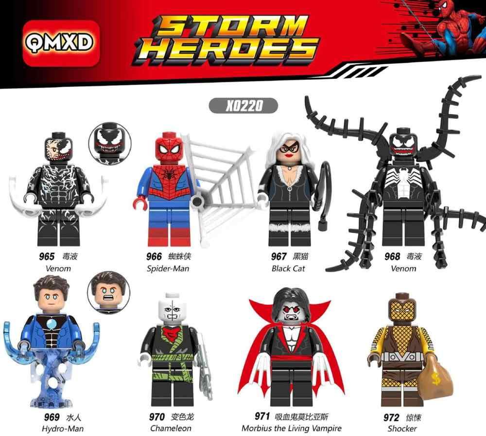 X0220 Vingar A Morte do Herói Compatível Legoingly venom aranha vampiro gato Preto homem de água bloco de Montar modelo de madeira presente da criança