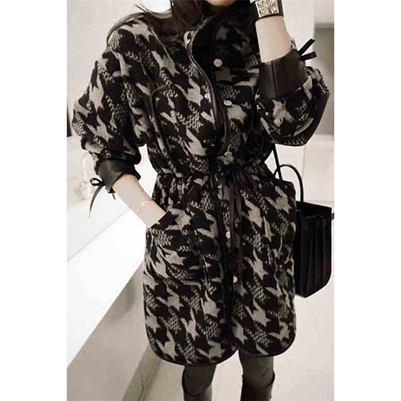 New Chic Korean Woolen Coat Female Houndstooth Long Retro Lattice Blend Jacket Winter Fashion Flannel Loose Casual Outwear f1555 - 6