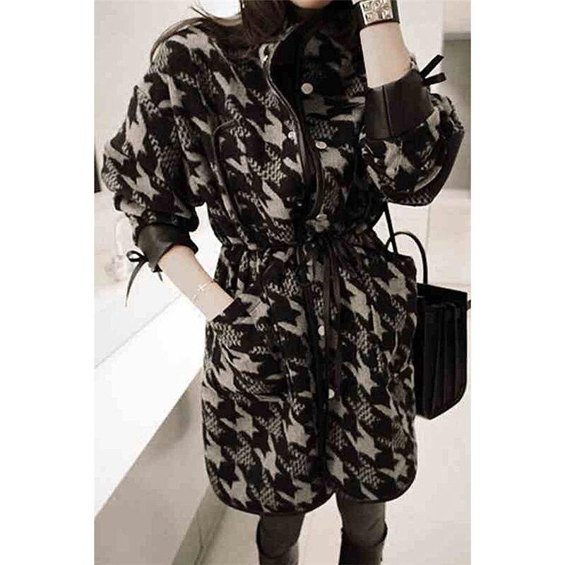 Nieuwe Chic Koreaanse Wollen Jas Vrouwelijke Houndstooth Lange Retro Rooster Blend Jas Winter Mode Flanel Losse Casual Uitloper f1555 - 6