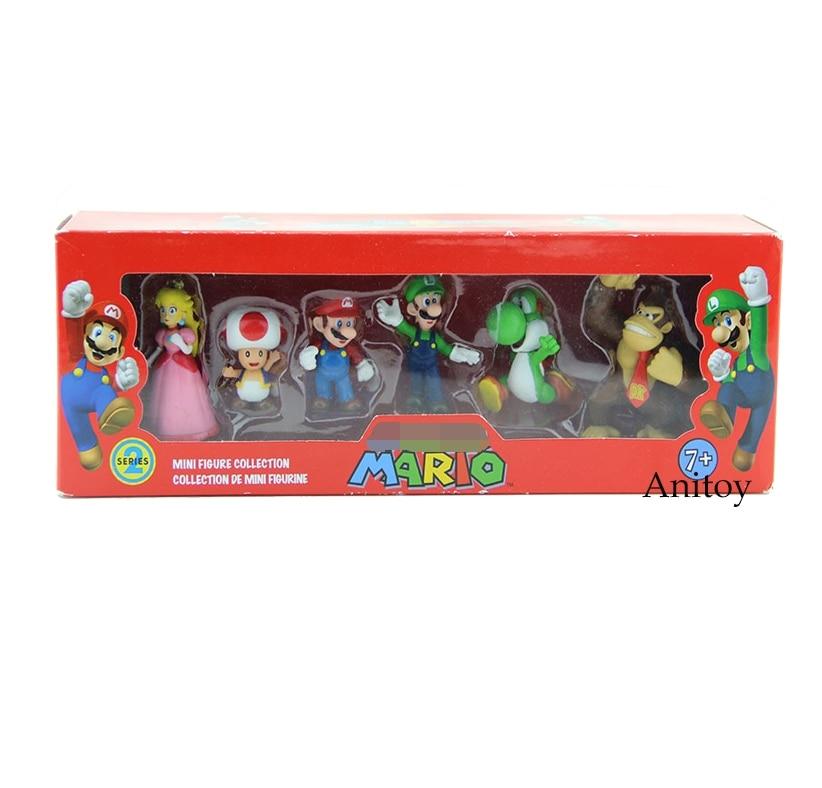 Super Mario Bros Peach Toad Mario Luigi Yoshi Donkey Kong PVC Action Figure Toys Dolls 6pcs/set New in Box SMFG218