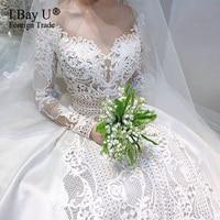 Real Image Luxury Lace Wedding Dress for Party 2020 Modest Full Sleeve Arabic Bridal Gown Plus Size robe de soirée de mariage