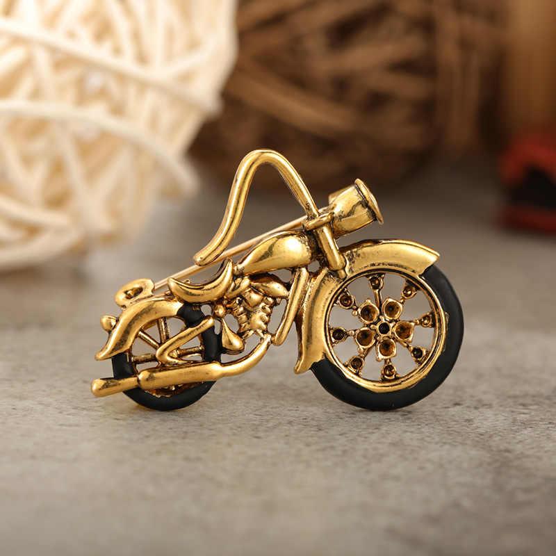 Blucome Modello di Moto D'epoca Spille Corsage per Le Donne Gli Uomini di Colore Dell'oro Scherza Il Regalo Retro Car Spilla Distintivo Hijab Spilli Gioielli