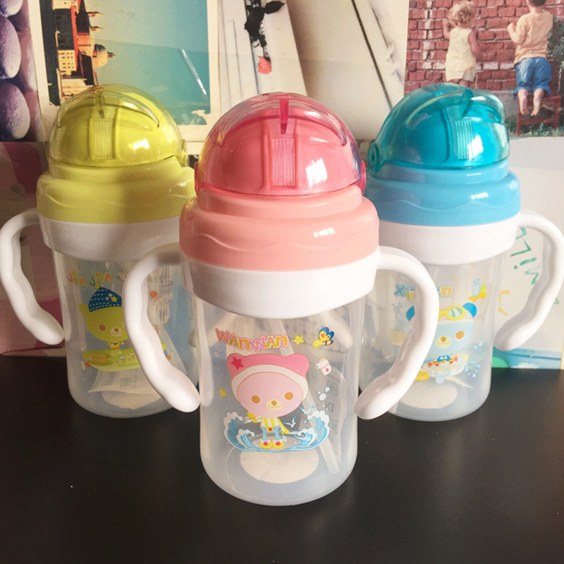 Baby Water Bottle with Handle and Straw Kids Toddler 240ml Baby Learning Drinking Bottles Infant Feeder Cup Milk Water Kettle in Water Bottles from Home Garden