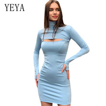 YEYA Womens Vestidos New Chest Hollow Long Sleeve Stand Collar Dress Femme Night Party Slim Bodycon Dresses Elegant Club Robe