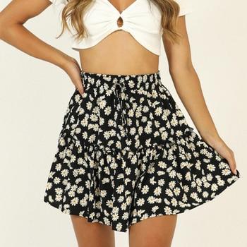 Summer Floral Skirt Women Daisy Print High Waist Short Skirts Ruffled Pleated Womens Casual Beach 2020 New