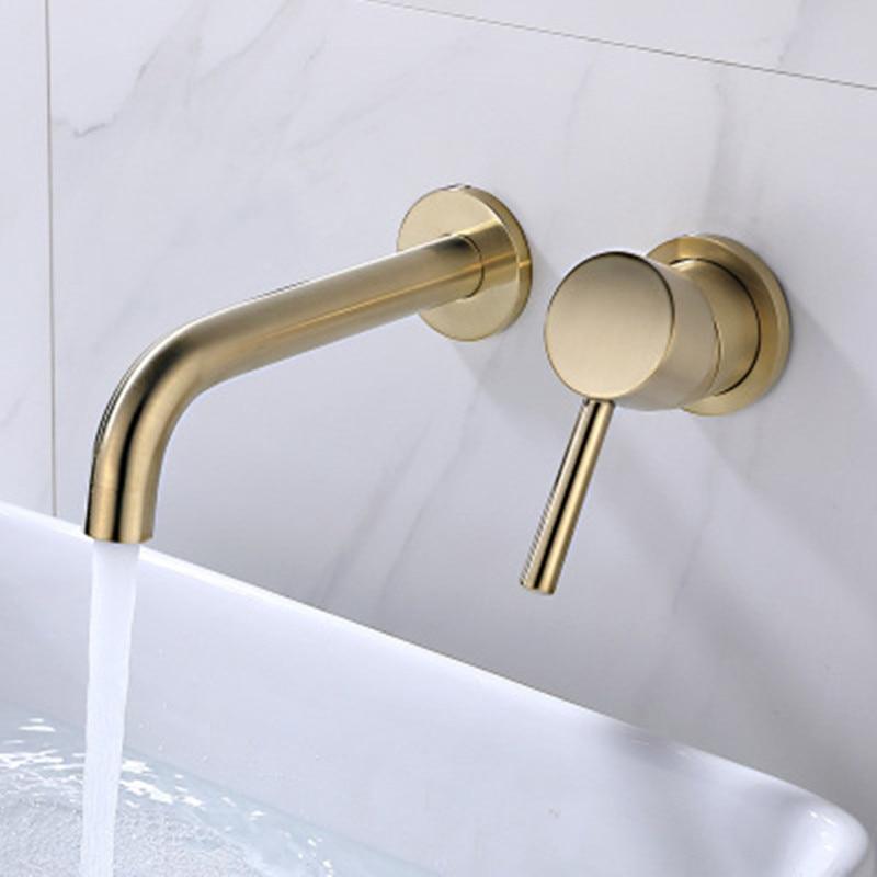 Robinet de lavabo mural en laiton mitigeur mitigeur chaud froid salle de bain eau en gros bain mat noir blanc Rose or ensemble
