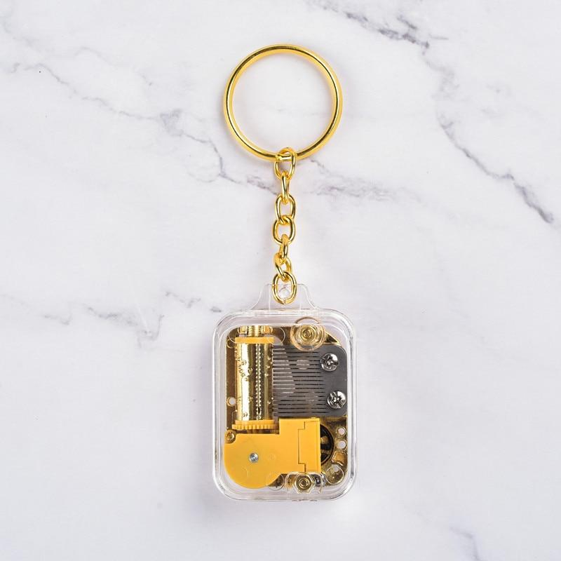 Mini ouro-banhado movimento quadrado chaveiro pingente caixa de música caixa de música presente de aniversário presentes criativos & ofícios