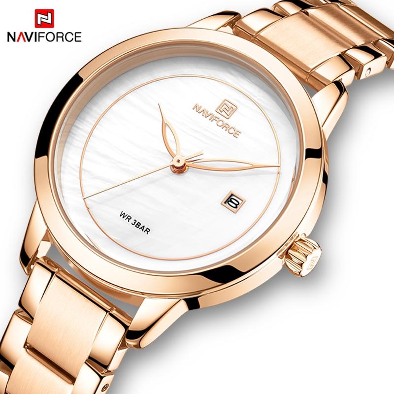 Marca de Luxo Relógios de Ouro para as Mulheres Relógios de Pulso Naviforce Rosa Quartzo Moda Senhoras Pulseira Relógio Feminino 2020
