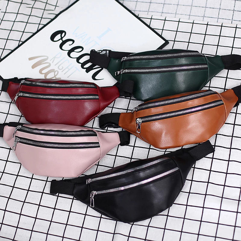 Men And Women Fashion Waist Bag PU Leather Zipper Large Capacity Casual Sports Bags Multifunctional New Shoulder Bag 2021