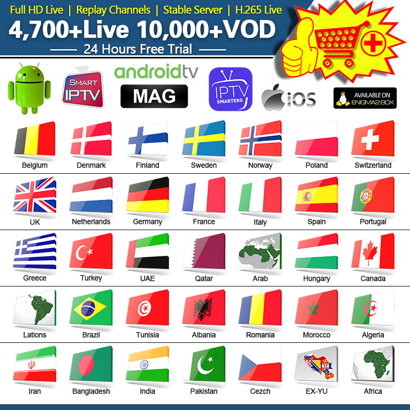 1 Year IPTV France Arabic Qatar French Spain IPTV Subscription for Android M3u IPTV <font><b>Belgium</b></font> Spain Portugal Italy IP TV image