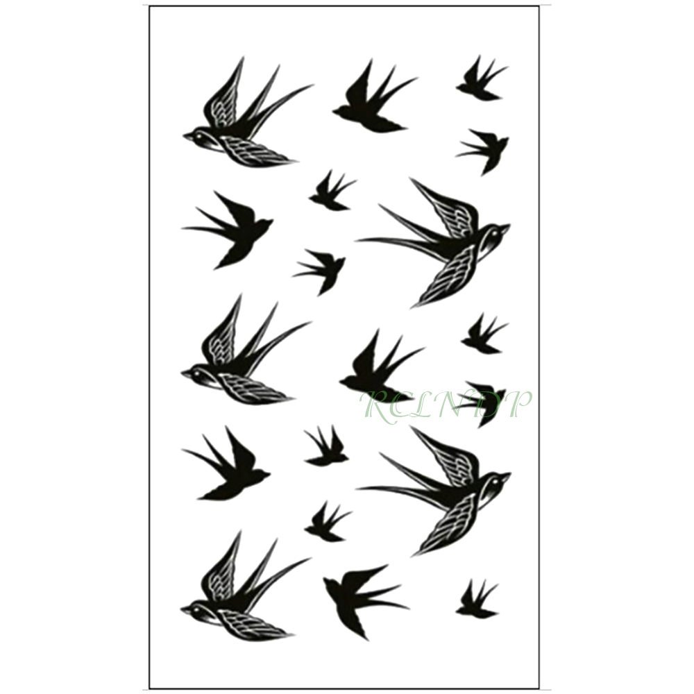 Waterproof Temporary Tattoo Sticker Swallow Fly Bird Flash Tatoo Fake Tatto Arm Leg Wrist Foot Hand For Girl Men Women Kids