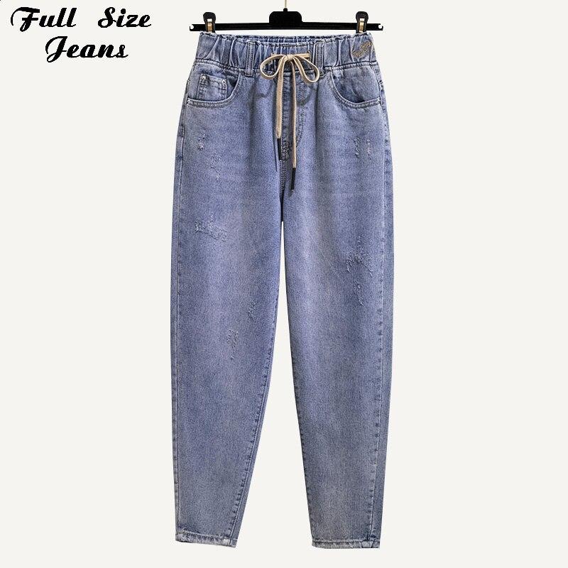 Plus Size Elastic Waist Mom Fit High Waist Capris Loose Harem Jeans 4Xl Boyfriend Casual Light Blue Wash Carrot Denim Trousers