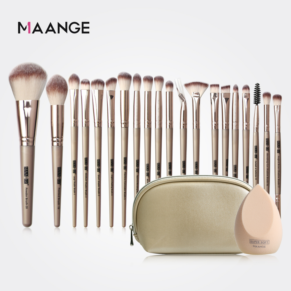 MAANGE Pro 12/18/20 Pcs Makeup Brushes Set + Bag + Sponge Beauty Powder Foundation Eyeshadow Make Up Brush With Natural Hair