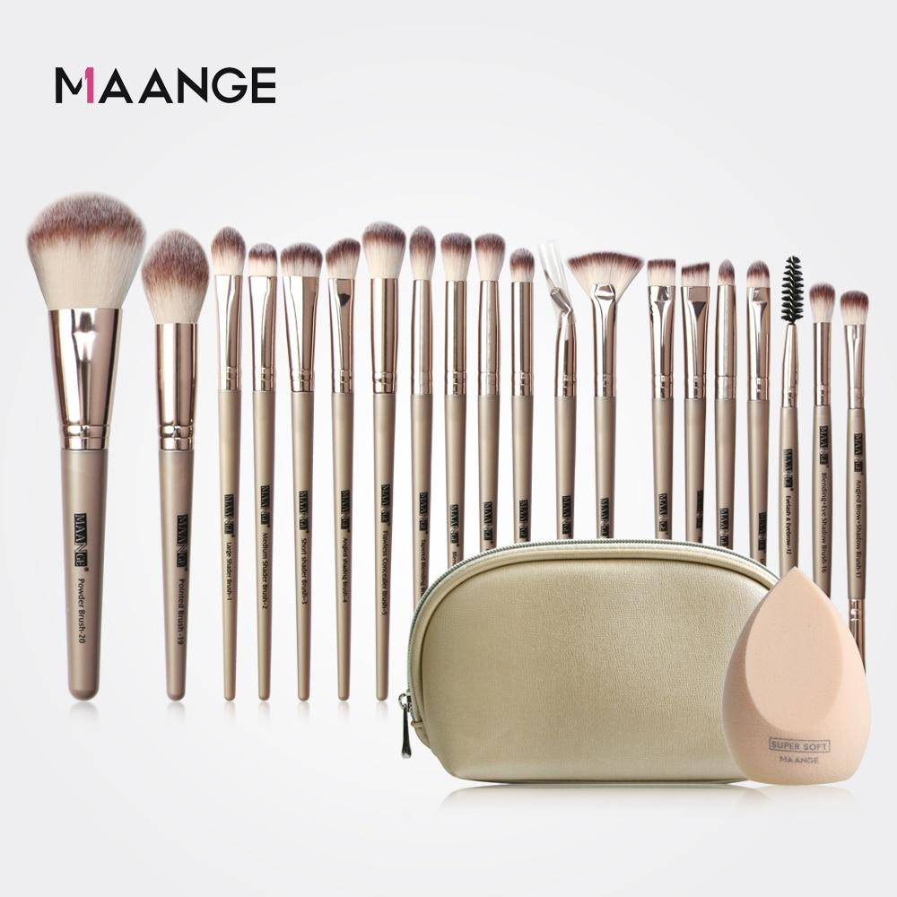 MAANGE Pro 12/18/20 Pcs Makeup Brushes Set + Bag + Sponge Beauty Powder Foundation Eyeshadow Make Up Brush With Natural Hair