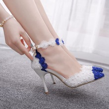 Crystal Queen Women Thin Heel Sandals Pointed Toe High Heels White Blue Lace Wedding Shoes Pointed Toe Lace Flower Pearls Pumps