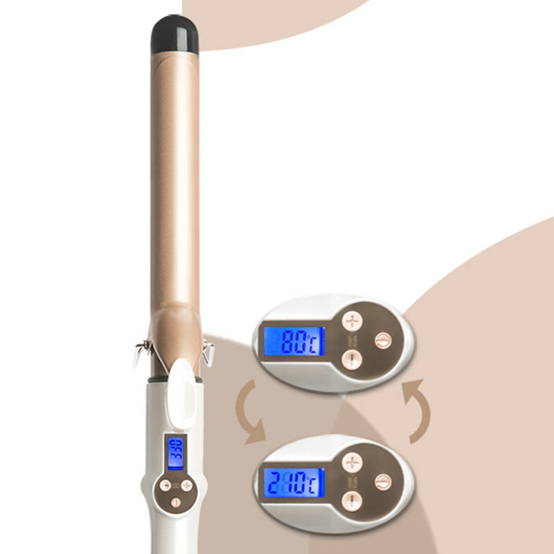 Real Electric Professional Ceramic Hair Curler Lcd Curling Iron Roller Curls Wand Waver Fashion Styling Tools 28Mm Eu Plug in Curling Irons from Home Appliances