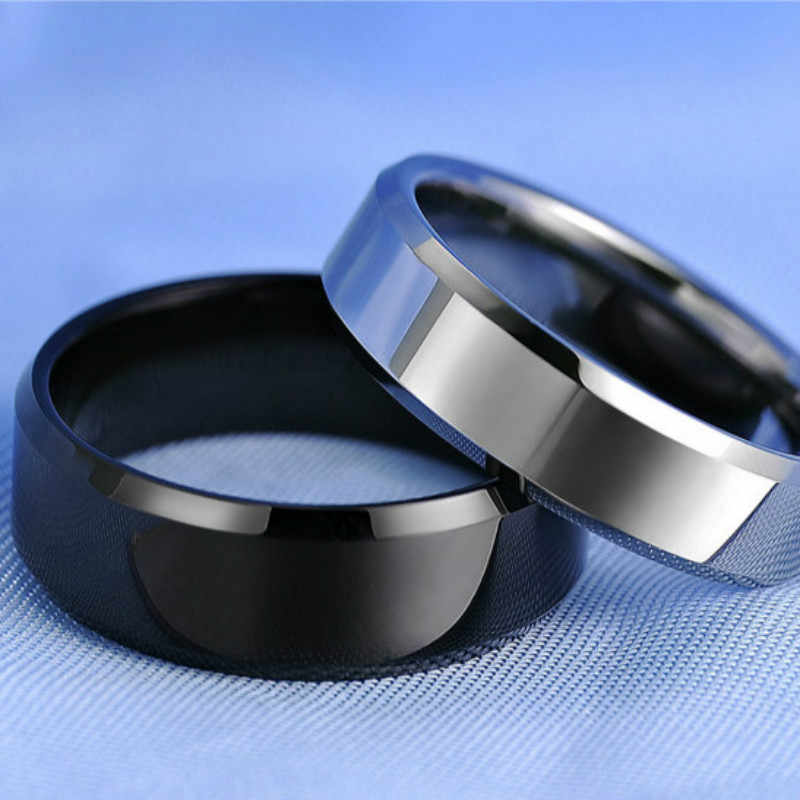 1 stücke Einfache Doppel Bevel Rand Stahl Titan Finger Ringe Party Favors für Männer und Frauen Ringe Party Dekoration Geschenke liefert