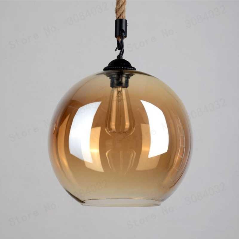 BDBQBL ретро скандинавский светодиодный стеклянный подвесной светильник Янтарный пеньковый Канатный светильник с покрытием Подвесная лампа Лофт кухня спальня ресторан гостиничный зал