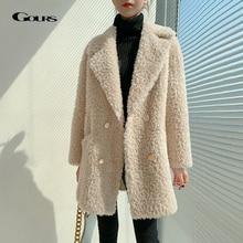 Gours Winter Echt Shearling Jassen Voor Vrouwen Mode Natuurlijke Wol Echt Bont Lange Jassen Dikke Warme 2020 Nieuwe Collectie LD2517