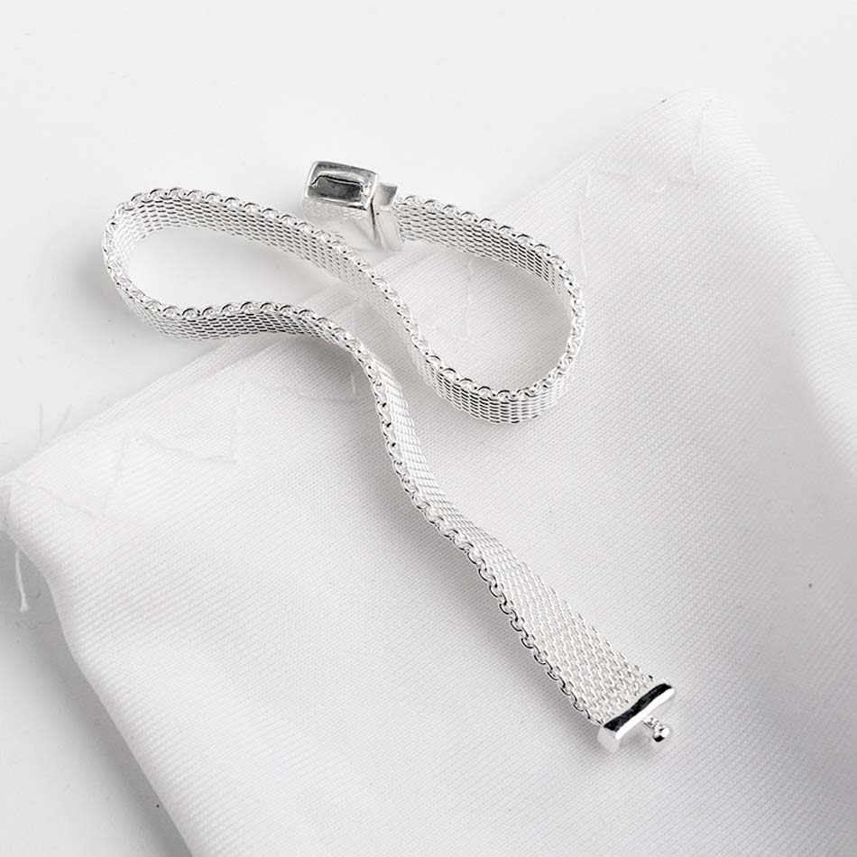 Original Gewebt Mesh Silber Reflexions Armbänder Armreif Fit 925 Sterling Silber Perle Charme Armband Europa Diy Schmuck