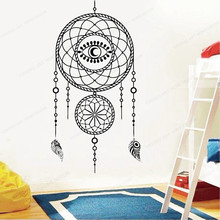 Dream bedroom wall decal  catcher home wall sticker vinyl removable wall art mural JH72 arrow wall decal dreamcatcher vinyl wall sticker bohemian design bedroom decor dream catcher feathers symbol wall mural ay1451