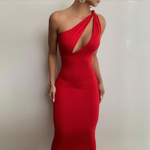 2021 New One Shoulder Sleeveless Sexy Maxi Dress Summer Women Fashion Hollow Out Bodycon Dress Party Club Elegant Clthings