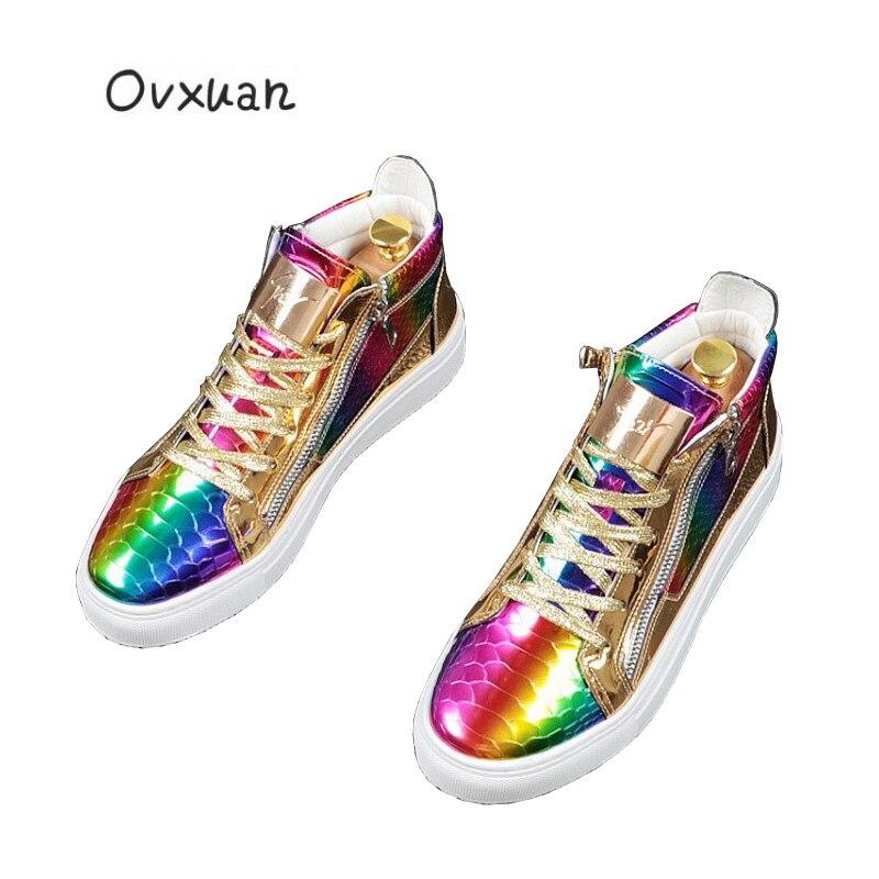 Chaussures décontractées arc-en-ciel de luxe en tôle plate-forme supérieure en cuir verni serpent hommes bottes baskets hommes 2019 automne chaussures Hip Hop