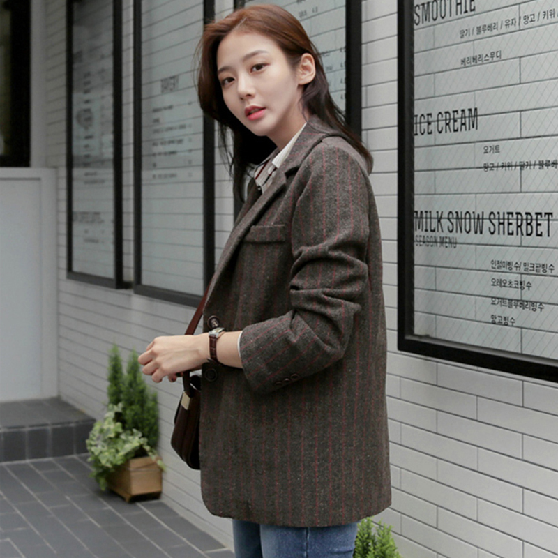 Women Elegant Stripe Blazer Suit New Long Sleeve Single Breasted Woolen Suit Coat Female  Office Work Jacket Autumn Outerwear