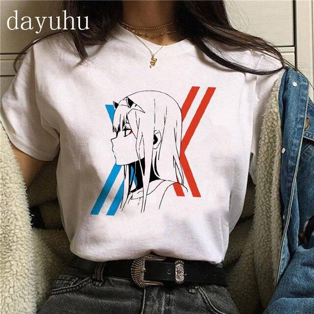Kawaii Japanese Anime Darling In The Franxx Zero Two T Shirt Women Harajuku Graphic Tees Tops Unisex Tshirt Female T-shirt Manga 3