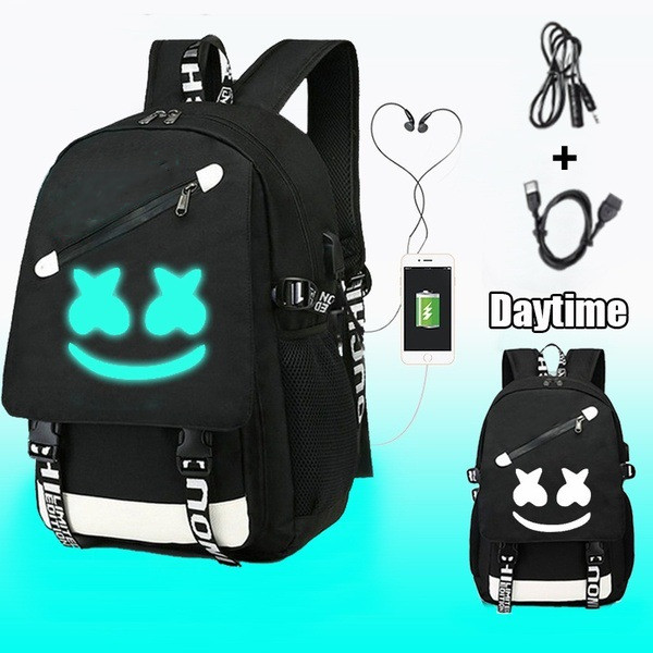 Luminous Student Backpack /Mochila Marshmallow / Teenage Rucksack School Bag Usb Charging Laptop Anti Theft Bag
