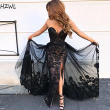 Черное милое платье для выпускного вечера с кружевной аппликацией