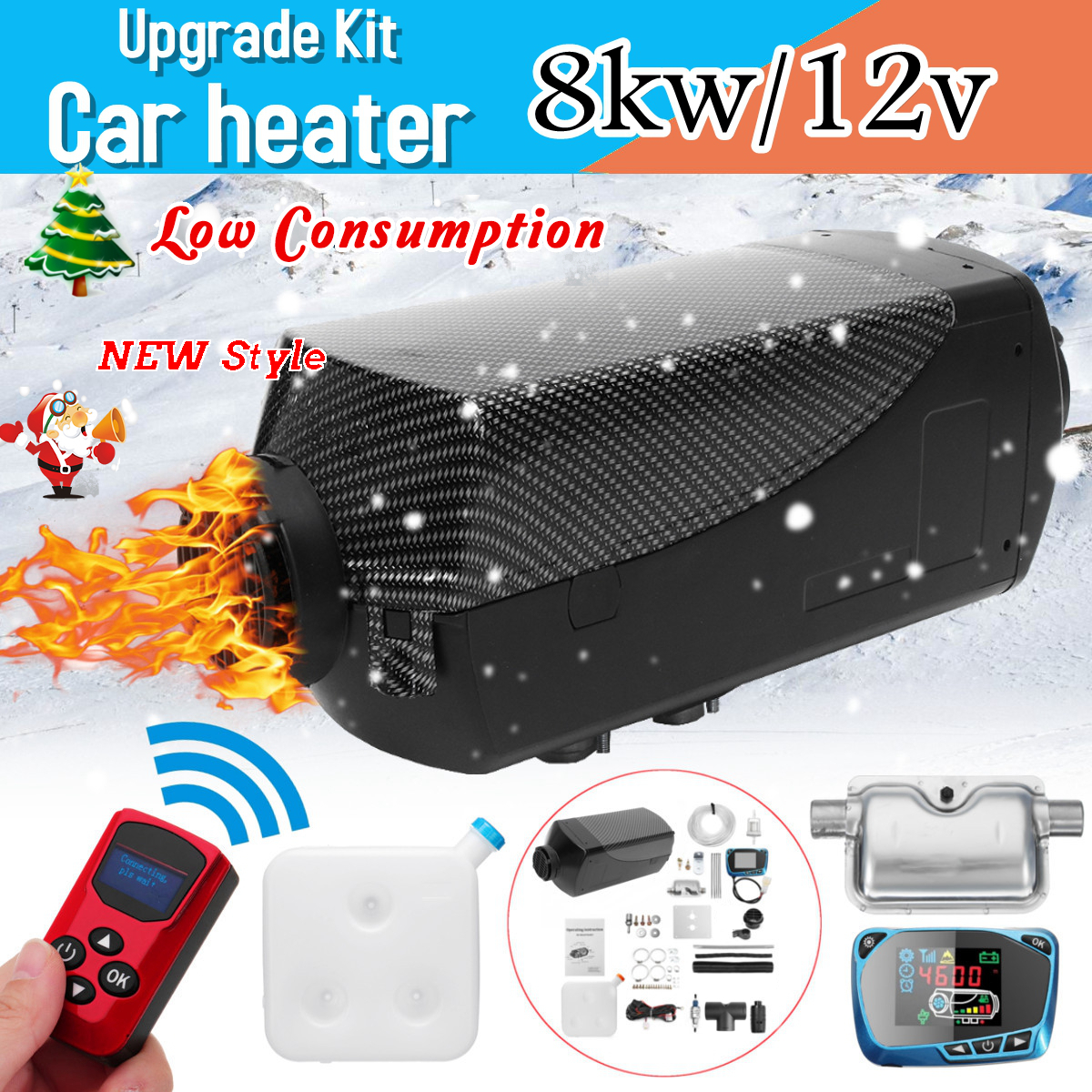 8000 w ar diesels aquecedor 8kw 12 v aquecedor de carro para caminhões motor-casas barcos ônibus + lcd monitor interruptor + controle remoto + silenciador
