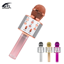 Bluetooth Microphone Voice-Changer Singing-Radio Studio-Recording Wireless with for Led-Light