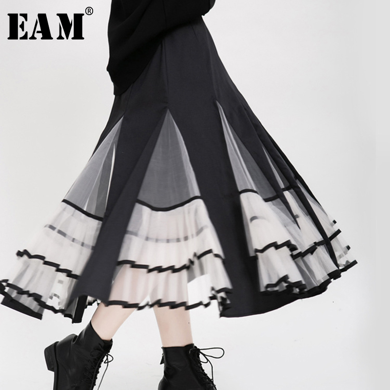 [EAM] High Waist Black Organza Split Pleated Temperament Half-body Skirt Women Fashion Tide New Spring Autumn 2020 19A-a180