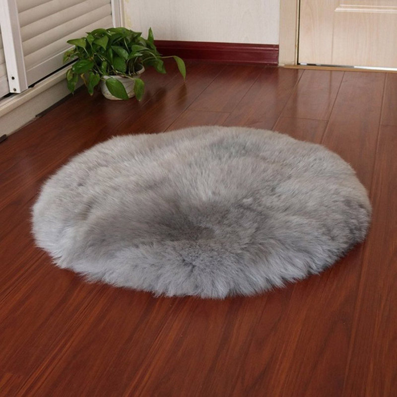 Faux Sheepskin Wool Carpet 30 X 30 Cm Fluffy Soft Longhair Decorative Carpet Cushion Chair Sofa Mat (Round Grey)