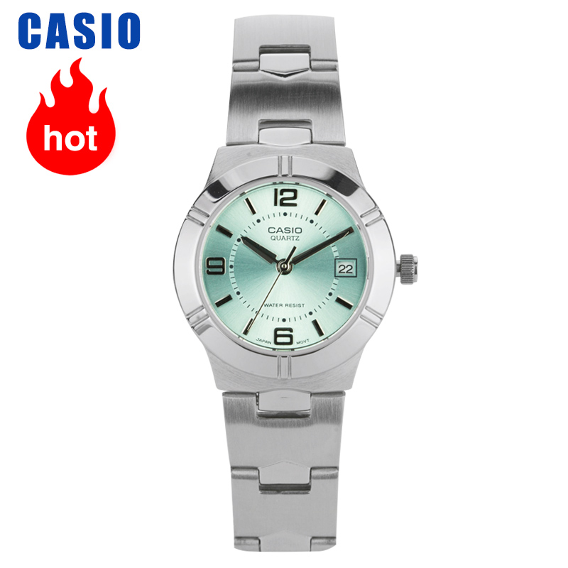 Casio Watch Female Simple Steel Belt Light Green Small Plate Quartz Ladies Watch LTP-1241D-3A