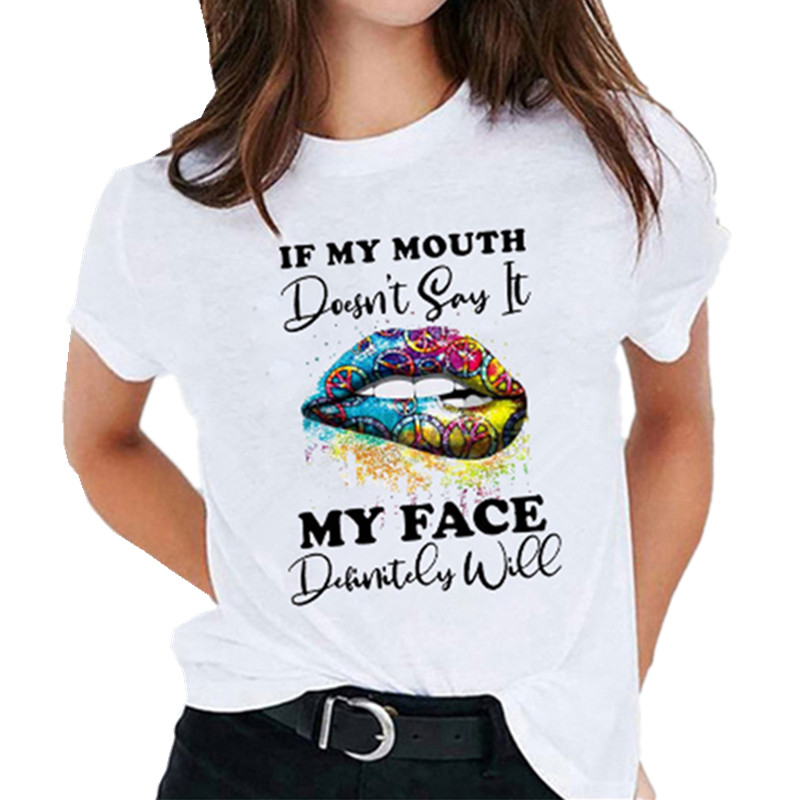 Женская футболка с надписью и губами, модная забавная одежда с мультяшным принтом, футболки, женская футболка, топ, футболка с графическим п...