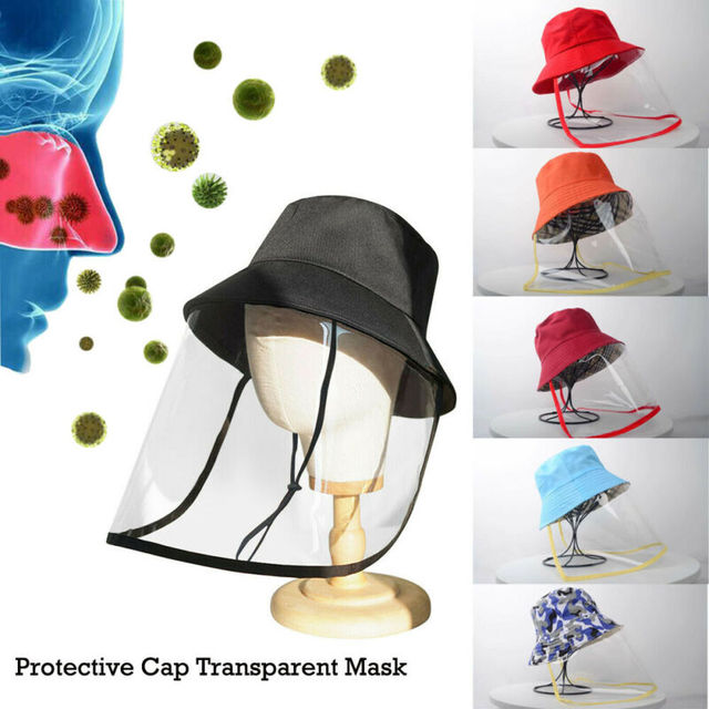 Anti Spitting Saliva Drool Fisherman Cap Dual-use Sun Hat Protective Face Shield Cover Hat with Detachable Clear Facial Mask