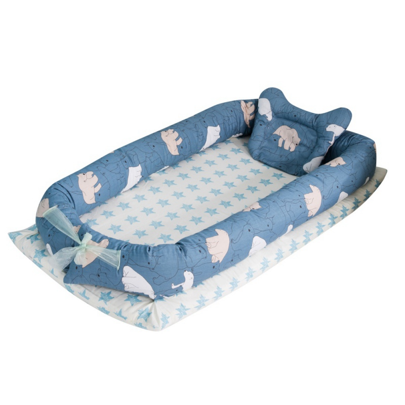 New Hot Portable Baby Bed With Pillow Baby Lounger For Newborn Crib Breathable Sleep Nest With Pillow
