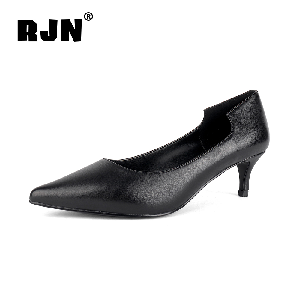 Cheap RJN Classic Style Women Pumps Cover Heel Design High Quality Sheepskin Sexy Pointed Toe Slip-On Shoes Shallow Pumps For Job R41