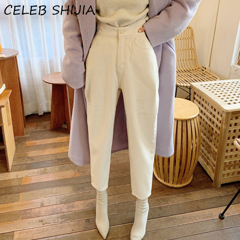 SHIJIA Women Harem Jeans Pants Fashion Vintage High Waist Loose White Denim Jeans Female Streetwear Buttons Trousers Autumn 2020|Jeans|   - AliExpress