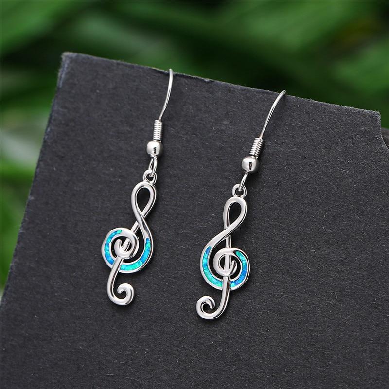 Simple Female Blue Opal Drop Earrings Cute Silver Color Dangle Earrings Classic Hollow Music Note Wedding Earrings For Women