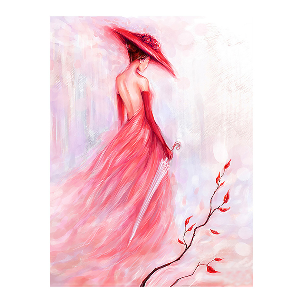 Pink Lady <font><b>Diamond</b></font> <font><b>Painting</b></font> portrait <font><b>Round</b></font> <font><b>Full</b></font> <font><b>Drill</b></font> <font><b>sexy</b></font> <font><b>woman</b></font> Nouveaute DIY Mosaic Embroidery 5D Cross Stitch home decor gifts image
