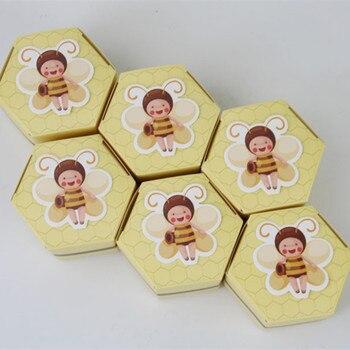 10 sztuk Baby Shower sześciostronna żółta pszczoła cukierki ciasteczka prezent Box dekoracje na imprezę urodzinową dla dzieci dekoracje ślubne tabela Party Diy