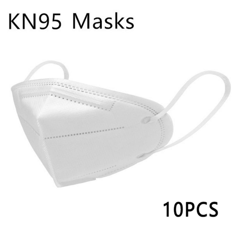 10pcs KN95 Mask Bacteria Proof Anti Infection Face Mask 95% Filtration Non-woven Fabric Protective Masks Anti Pollution Mask New