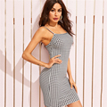Gingham Print Cami Dress Black and White 2019 Women Clothes Summer Bodycon Sleeveless Spaghetti Strap Sexy Slip Dress