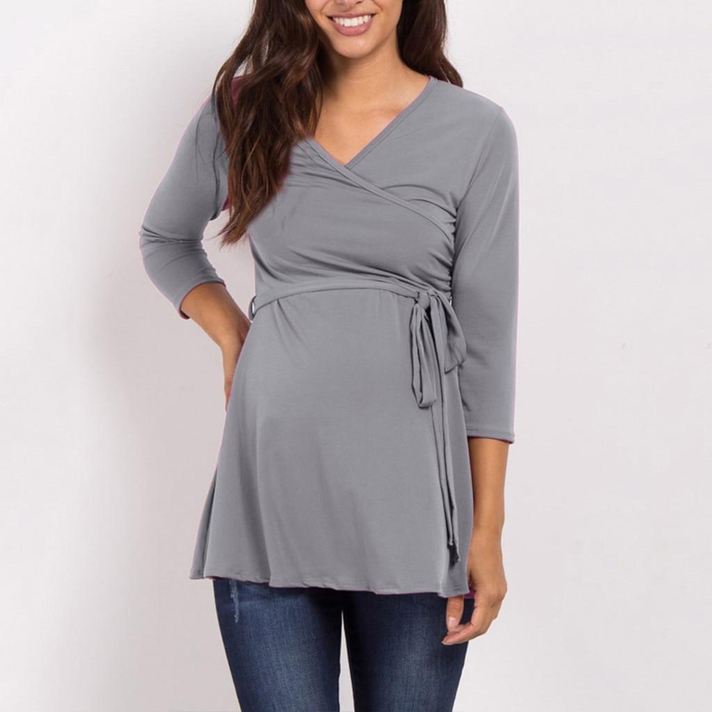 Maternity Clothes Solid V-neck Long Sleeve Maternity Tops Frenulum Maternity Blouse Pregnancy Shirt Bluzka Do Karmienia Grossess