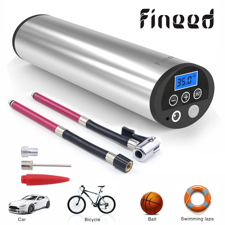 Fineed compresseur d'air Mini pompe à air électrique 150 PSI 12V électrique Auto pompes à vélo avec jauge de pression des pneus lumière LED